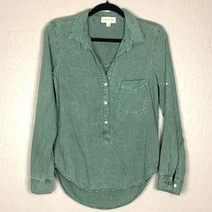 Cloth & Stone Chambray Long Sleeve Green Size XS